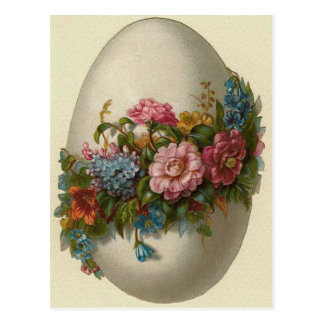 Vintage Easter Egg With Flowers Easter Card Postcard