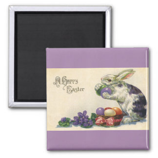 Vintage Easter Eggs and Victorian Easter Bunny Square Magnet