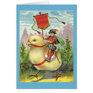 Vintage Easter Giant Baby Chick Riding Card