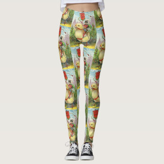 Vintage Easter Giant Baby Chick Riding Leggings