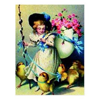 Vintage Easter Girl and Baby Chicks Postcard
