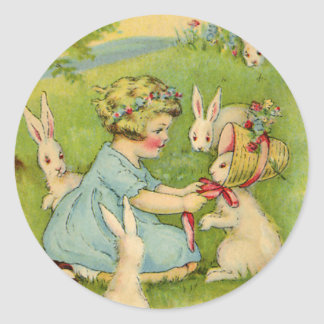 Vintage Easter, Girl Bonnet on Bunny Rabbit Classic Round Sticker