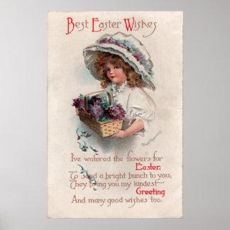 Vintage Easter Girl in Bonnet Poster