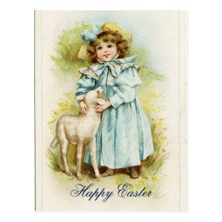 Vintage Easter Girl Postcard