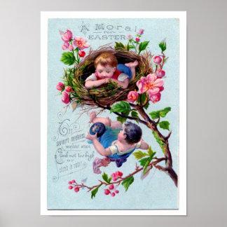 Vintage Easter Illustration in Blue Posters