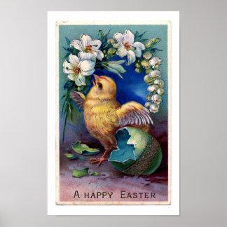 Vintage Easter Illustration With Chick Poster
