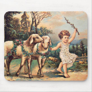 Vintage Easter Lambs Mouse Pad