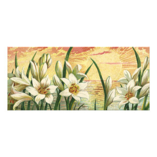 Vintage Easter Lilies and Angels at Sunrise Rack Card