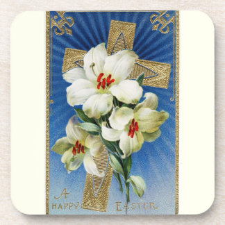 Vintage Easter Lilies and Gold Cross Drink Coasters