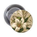 Vintage Easter Lilies, Victorian Flowers in Bloom 6 Cm Round Badge