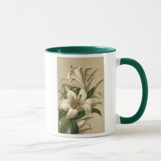 Vintage Easter Lilies, Victorian Flowers in Bloom Mug