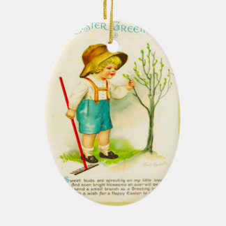 Vintage Easter, New buds in the garden Ceramic Ornament