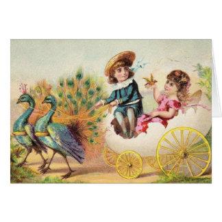 Vintage Easter Peacocks Greeting Card