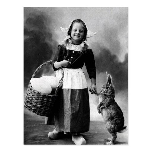 Vintage Easter Photo Girl with Big Bunny Rabbit Post Card