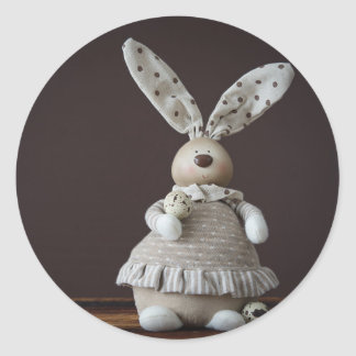 Vintage Easter Rabbit Classic Round Sticker