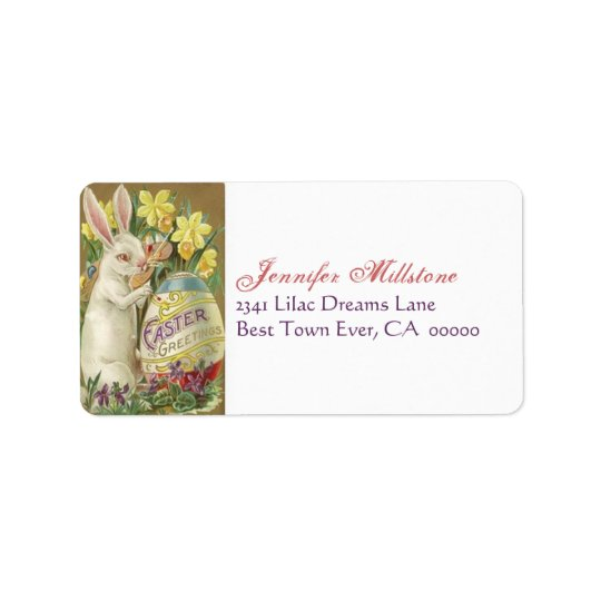 Vintage Easter Rabbit Painter Egg Address Label