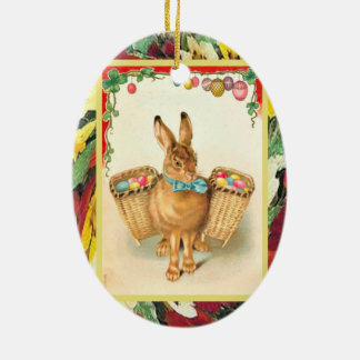 Vintage Easter, Rabbit with baskets of eggs Ceramic Oval Decoration