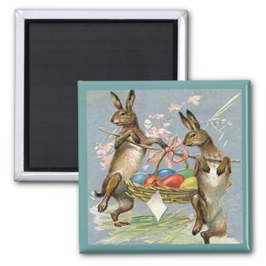 Vintage Easter Rabbits with Eggs Magnet