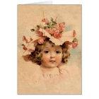 Vintage Easter Rose Bonnet Girl Card