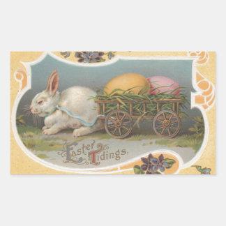 Vintage Easter Tidings Rectangular Sticker