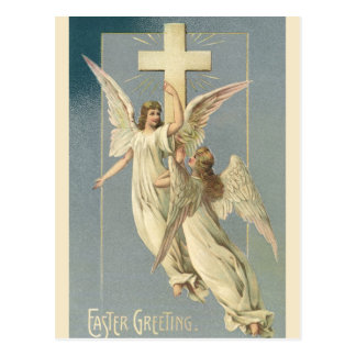 Vintage Easter, Victorian Angels with a Cross Postcard
