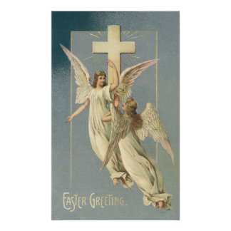 Vintage Easter, Victorian Angels with a Cross Posters