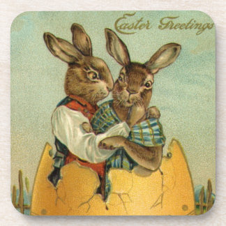 Vintage Easter, Victorian Bunnies in an Egg Coaster