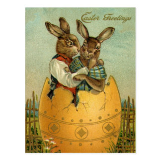 Vintage Easter, Victorian Bunnies in an Egg Postcard
