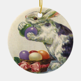 Vintage Easter, Victorian Bunny with Eggs Christmas Ornament