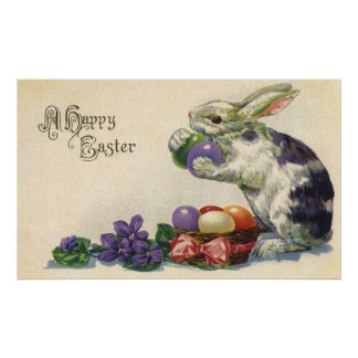 Vintage Easter, Victorian Bunny with Eggs Print