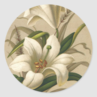 Vintage Easter, Victorian Lily Flowers in Bloom Round Sticker