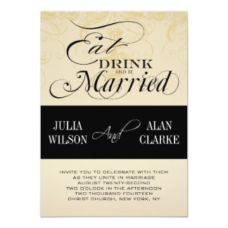 Vintage Eat, Drink and Be Married Wedding Invite