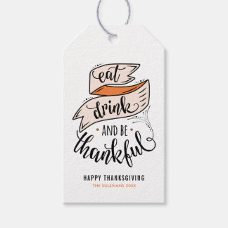 Vintage Eat Drink and be Thankful Thanksgiving Gift Tags