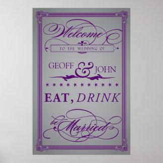 "Vintage ""Eat, Drink, Be Married"" Wedding Poster"