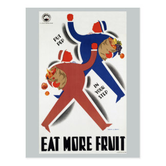 Vintage Eat More Fruit Australia Railways Postcard
