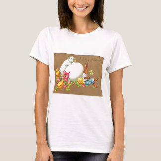 Vintage Eater Bunny Chick Egg Lamb Easter Card T-Shirt