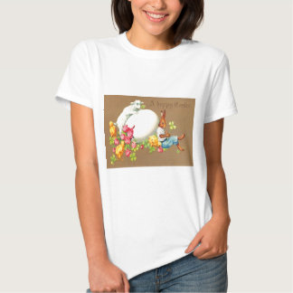 Vintage Eater Bunny Chick Egg Lamb Easter Card T-shirts