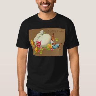 Vintage Eater Bunny Chick Egg Lamb Easter Card Tshirt