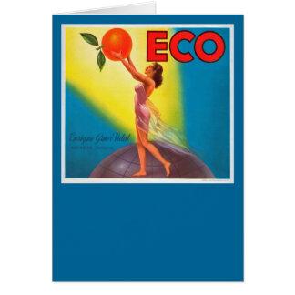 Vintage Eco Orange Label Greeting Card