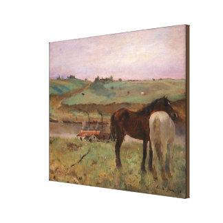 Vintage Edgar Degas Horses in a Meadow Canvas Print