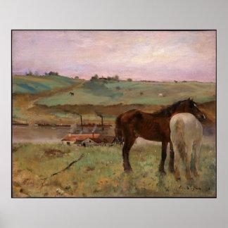 Vintage Edgar Degas Horses in a Meadow Poster