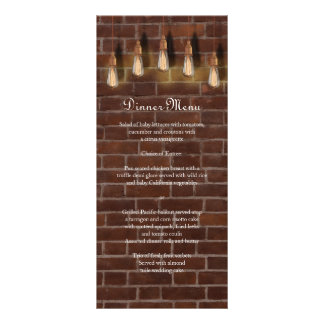 Vintage Edison Lightbulbs Industrial Chic Menu Customised Rack Card
