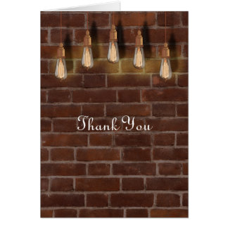 Vintage Edison Lightbulbs Industrial Chic Thanks Card