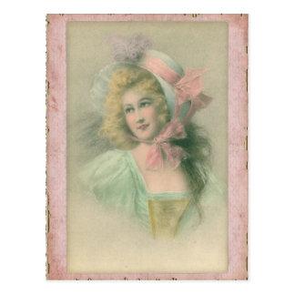 Vintage Edwardian Lady in Pink 1900s Illustration Postcard