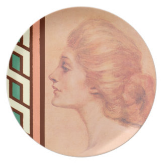 Vintage Edwardian Woman Delineator Cover Gibbs Dinner Plate