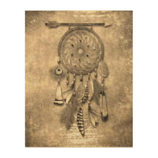 Vintage Effects | Feathers Dream Catcher | Sepia Wood Prints