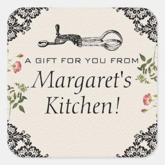 Vintage egg beater bakery baking gift tag label