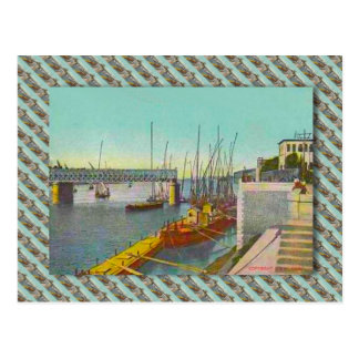 Vintage Egypt, Cairo,  bridge and sailing boats Postcard