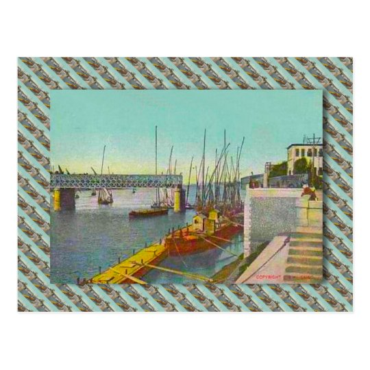 Vintage Egypt, Cairo,  bridge and sailing boats Postcard