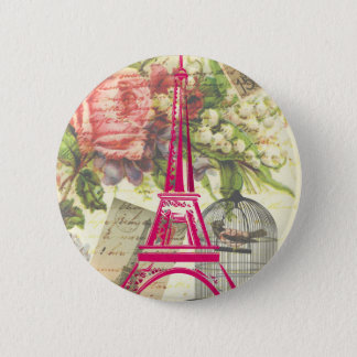 Vintage Eiffel Tower 6 Cm Round Badge